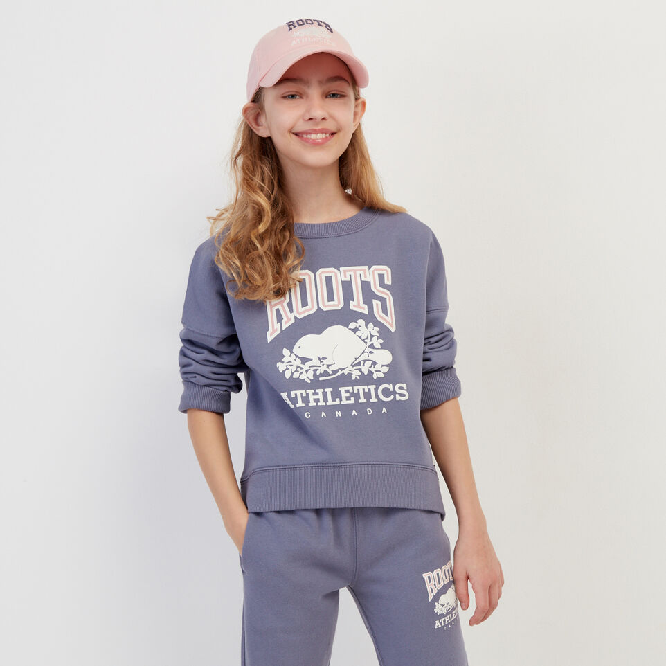 Roots-Kids New Arrivals-Girls RBA Crew-Purple-A