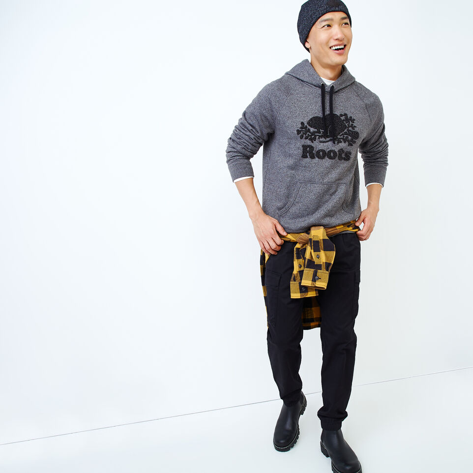 Roots-Men Our Favourite New Arrivals-Chenille Kanga Hoody-Charcoal Pepper-B