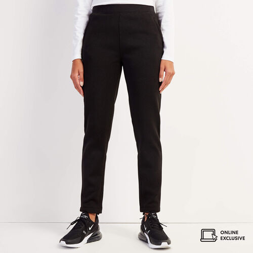 Roots-Women Slim Sweatpants-Sweater Fleece Pant-Black-A