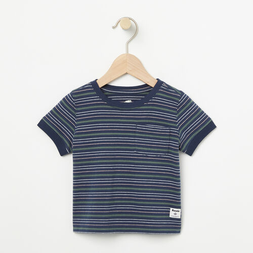 Roots-New For April Kids-Baby Striped Ringer Top-Dark Indigo-A