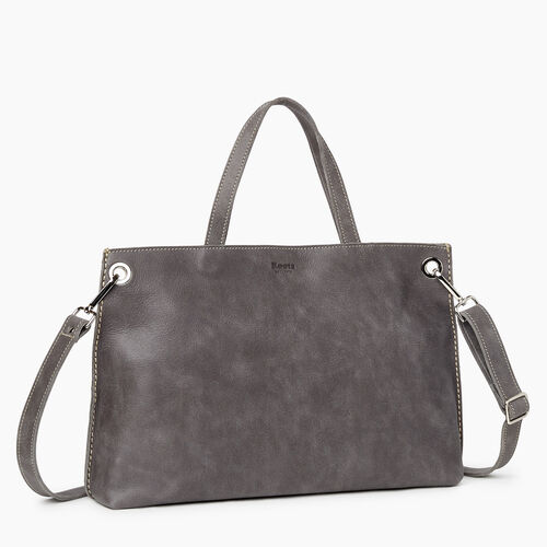 Roots-Leather Totes-Edie Tote Tribe-Charcoal-A