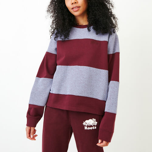 Roots-Women Sweats-Rugby Stripe Top-Northern Red-A