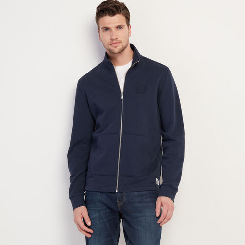 Roots-Men Clothing-Roots Organic Full Zip Mock-Navy Blazer-A