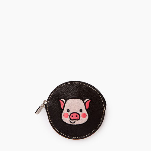 Roots-Women Leather Accessories-Pig Coin Pouch-Black-A