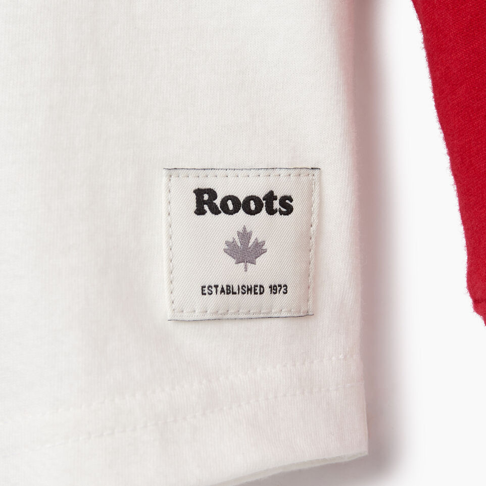 Roots-Kids Tops-Toddler Hockey Raglan T-shirt-Cabin Red-D