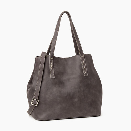 Roots-Leather  Handcrafted By Us Handbags-Amelia Tote-Charcoal-A