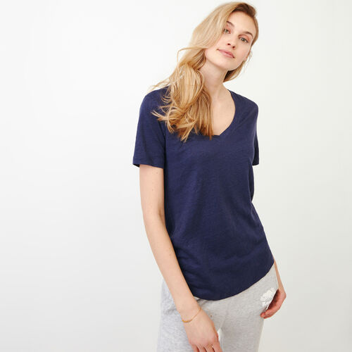 Roots-Women Our Favourite New Arrivals-Linen V Neck Top-Eclipse-A