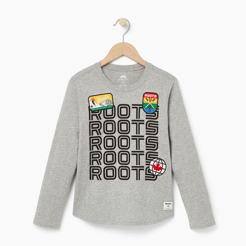 Roots-Winter Sale Kids-Boys Ski Patch T-shirt-Grey Mix-A