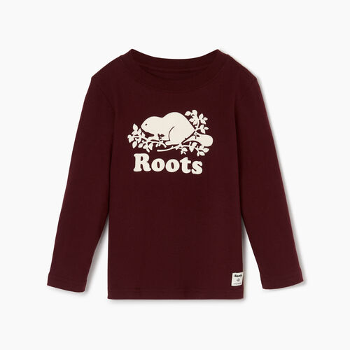 Roots-Kids Toddler Boys-Toddler Original Cooper Beaver T-shirt-Crimson-A