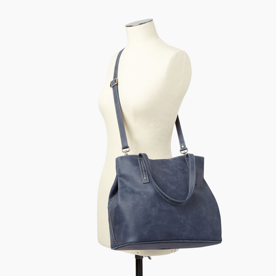 Roots-Leather  Handcrafted By Us Our Favourite New Arrivals-Amelia Tote Tribe-Navy-B