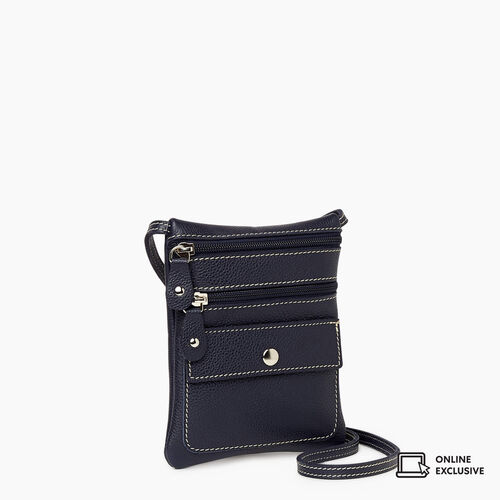 Roots-Leather Crossbody-Hanging Pouch Cervino-Navy-A