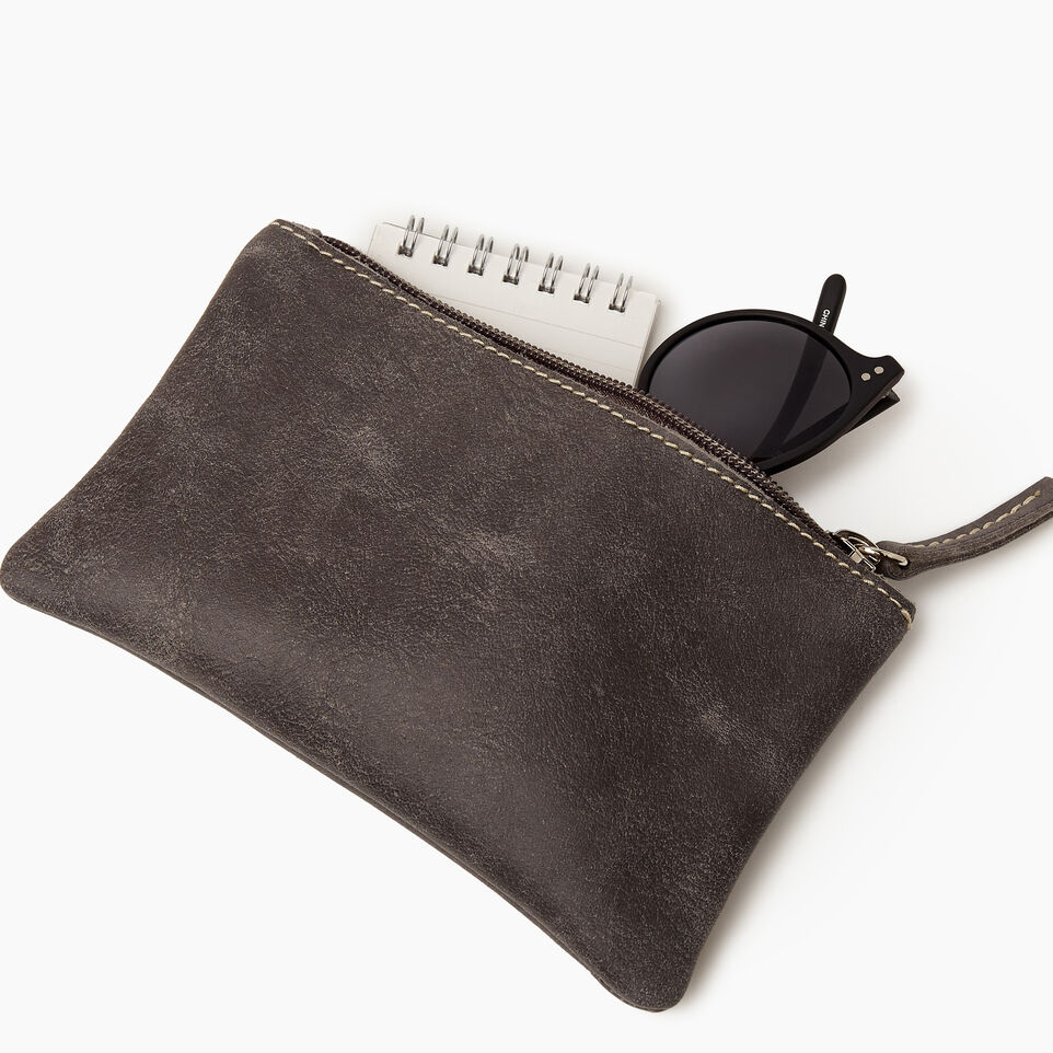 Roots-Leather Categories-Medium Zip Pouch-Charcoal-B