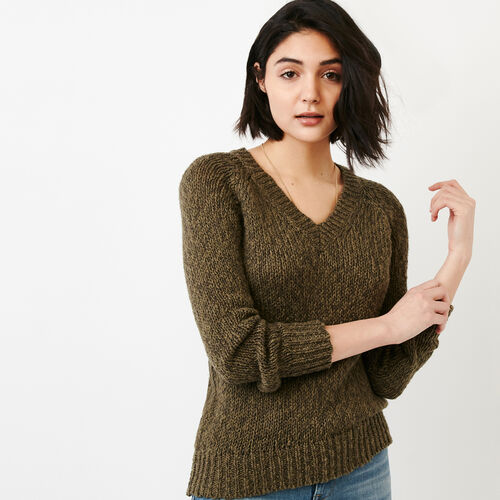 Roots-Women Categories-Laurel V Neck Sweater-Fatigue-A