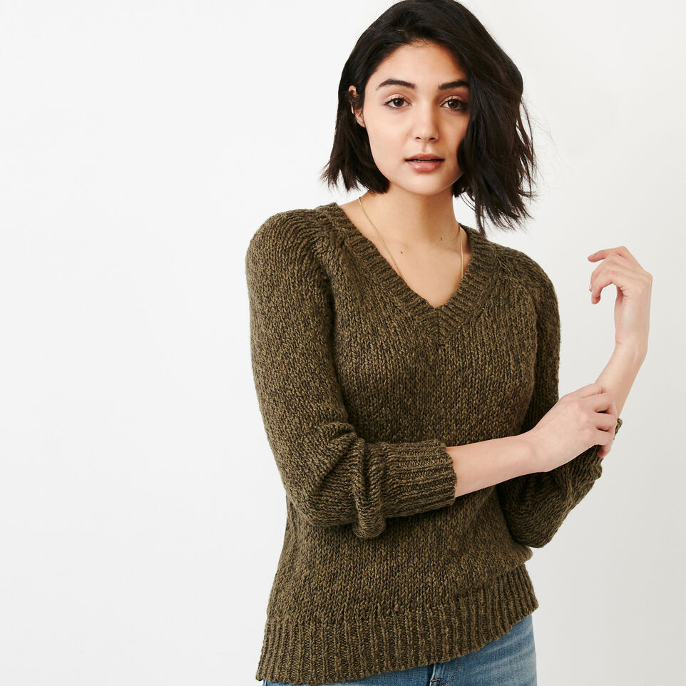 Roots-Women Our Favourite New Arrivals-Laurel V Neck Sweater-Fatigue-A