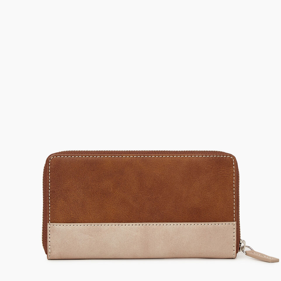 Roots-Leather  Handcrafted By Us Categories-Zip Around Wallet-Champagne/ Natural-B