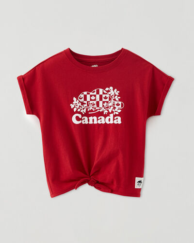Roots-Kids Toddler Girls-Toddler Cooper Canada Flag Tie T-shirt-Sage Red-A