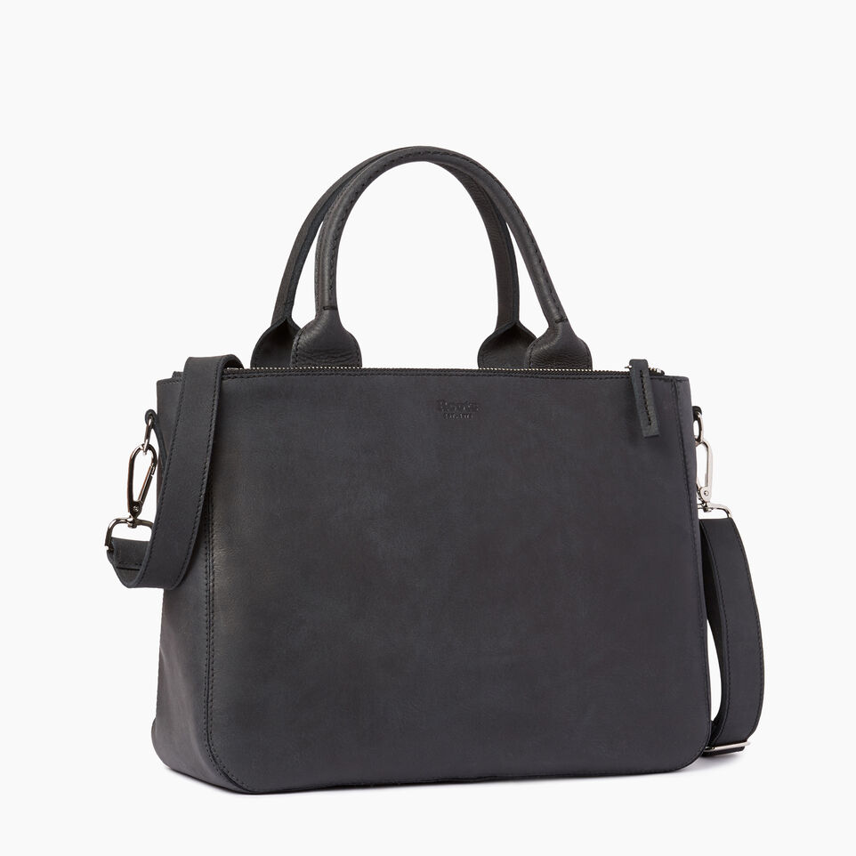 Roots-Clearance Leather-Riverdale Tote-Jet Black-C