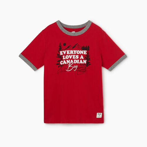 Roots-Kids New Arrivals-Boys Canadian Boy Ringer T-shirt-Sage Red-A