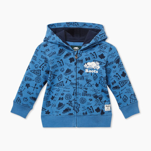 Roots-Kids Baby-Baby Camp Full Zip Hoody-Federal Blue-A