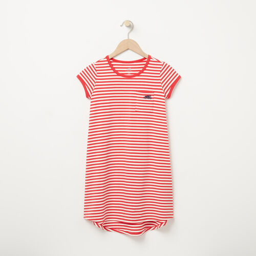 Roots-New For April Kids-Girls Ava Stripe Dress-Poinsettia-A