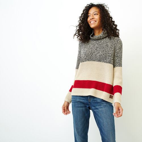 Roots-Women Tops-Roots Cotton Cabin Mock Neck-Grey Oat Mix-A