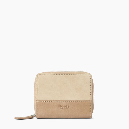 Roots-Leather  Handcrafted By Us Wallets-Small Zip Wallet-Sand/latté-A