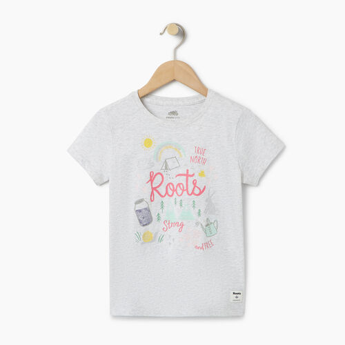 Roots-Kids Our Favourite New Arrivals-Girls Glow-in-the-dark T-shirt-White Mix-A