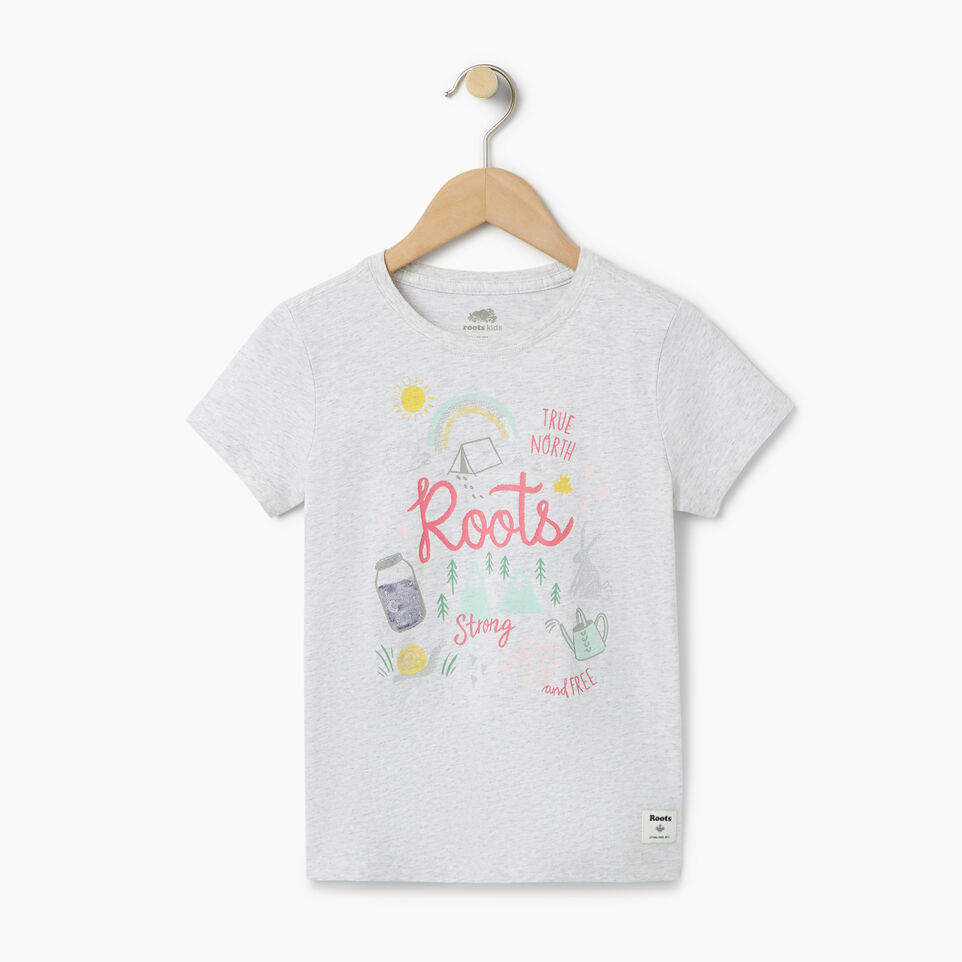 Roots-Kids T-shirts-Girls Glow-in-the-dark T-shirt-White Mix-A