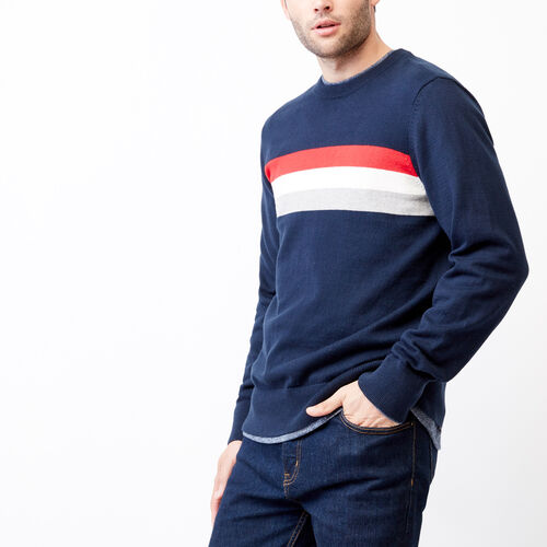 Roots-Men Sweaters & Cardigans-Var-city Striped Crewneck Sweater-Navy Blazer-A