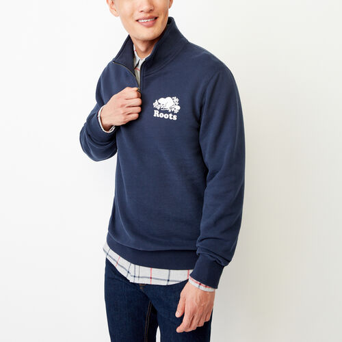 Roots-Men Categories-Cooper Half Zip Sweatshirt-Navy Blazer-A