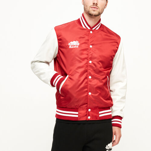 Roots-Leather  Handcrafted By Us Men's Award Jackets-Retro Varsity Jacket-Red-A