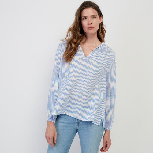 Roots-Women New Arrivals-Rimby Peasant Top-Blue Bonnet-A