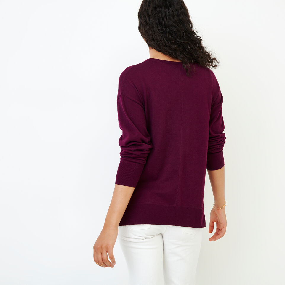 Roots-Women Our Favourite New Arrivals-Fauna V Neck Sweater-Pickled Beet-D