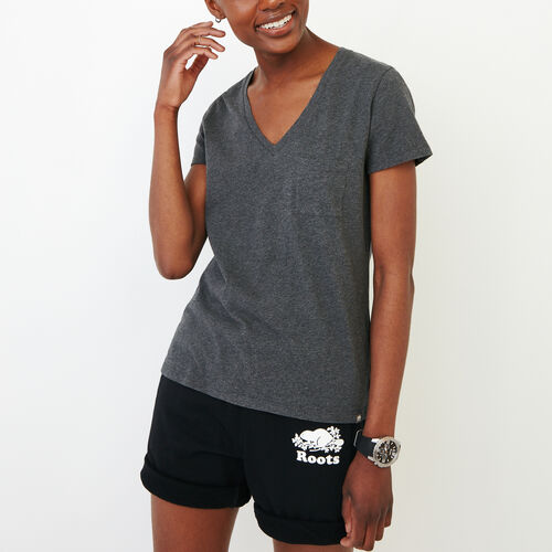 Roots-Clearance Tops-Essential V T-shirt-Charcoal Mix-A
