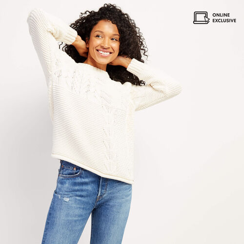 Roots-Women Sweaters & Cardigans-Yukon Cable Sweater-Ivory-A
