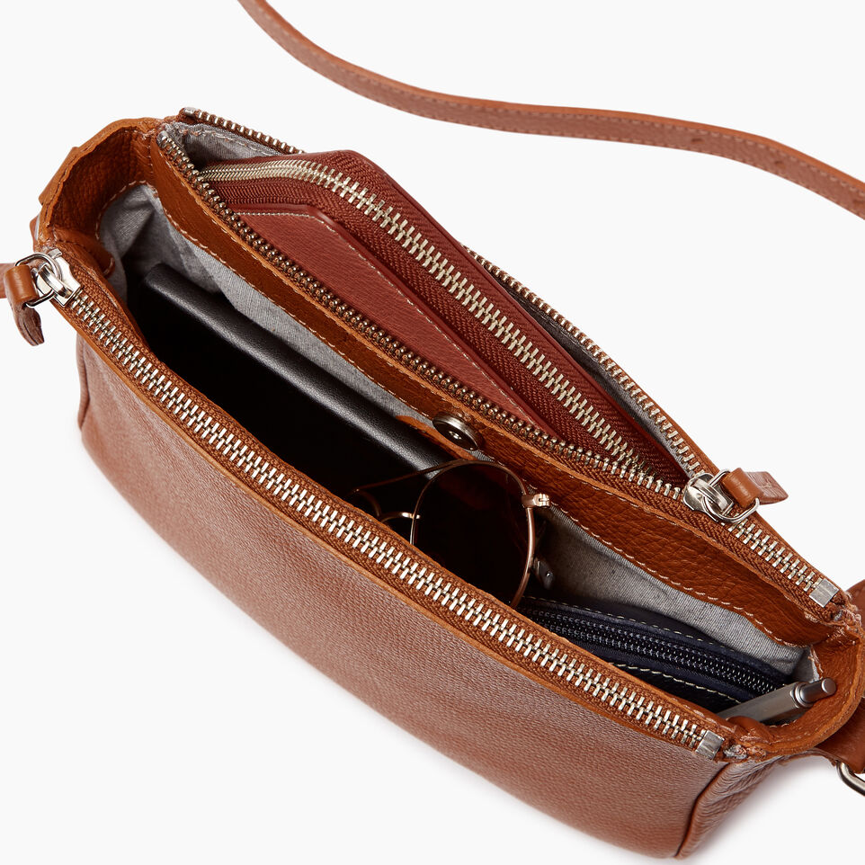Roots-Leather Categories-Main Street Crossbody-Caramel-D