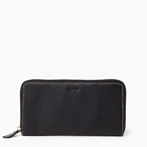Roots-Leather Our Favourite New Arrivals-Zip Around Clutch-Black-A