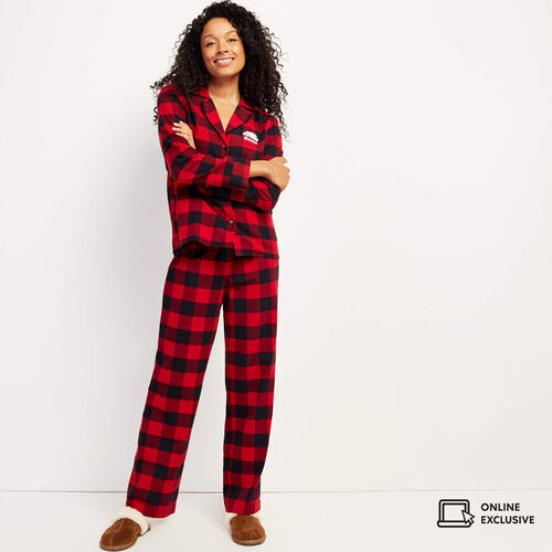Roots-Women New Arrivals-Park Plaid Lounge Set-Cabin Red-A