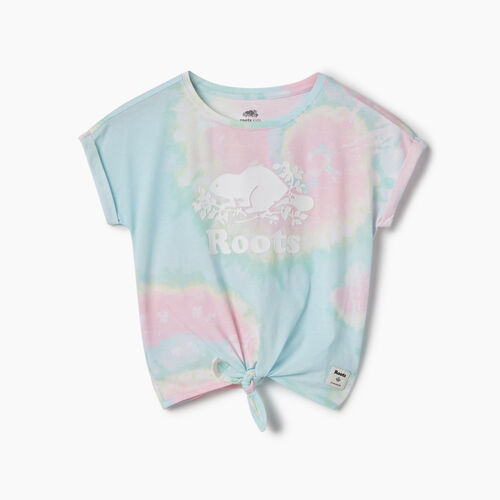 Roots-Kids New Arrivals-Girls Tie T-shirt-Multi-A