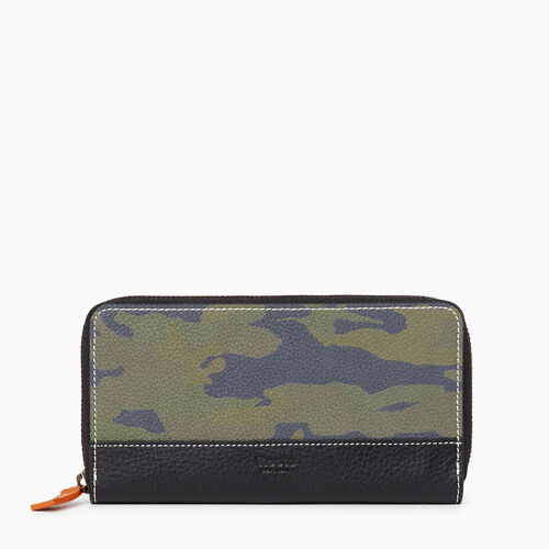 Roots-Leather New Arrivals-Zip Around Clutch Camo-Green Camo-A