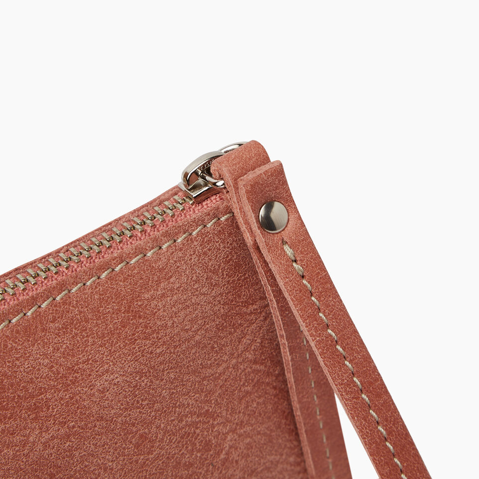 Roots-Leather Our Favourite New Arrivals-Wristlet Pouch-Canyon Rose-D
