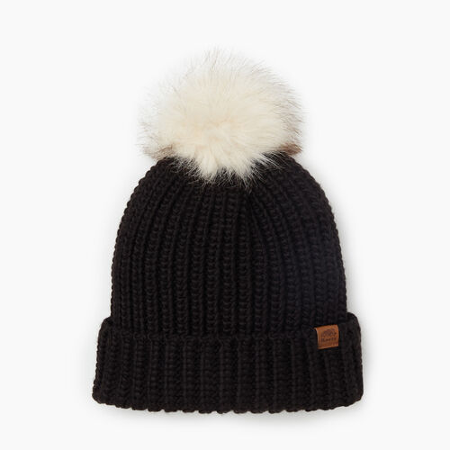 Roots-Gifts Accessory Sets-Olivia Fur Pom Pom Toque-Black-A
