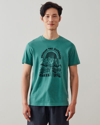 Roots-Men Graphic T-shirts-Mens Protect The Outdoors T-shirt-Blue Spruce-A