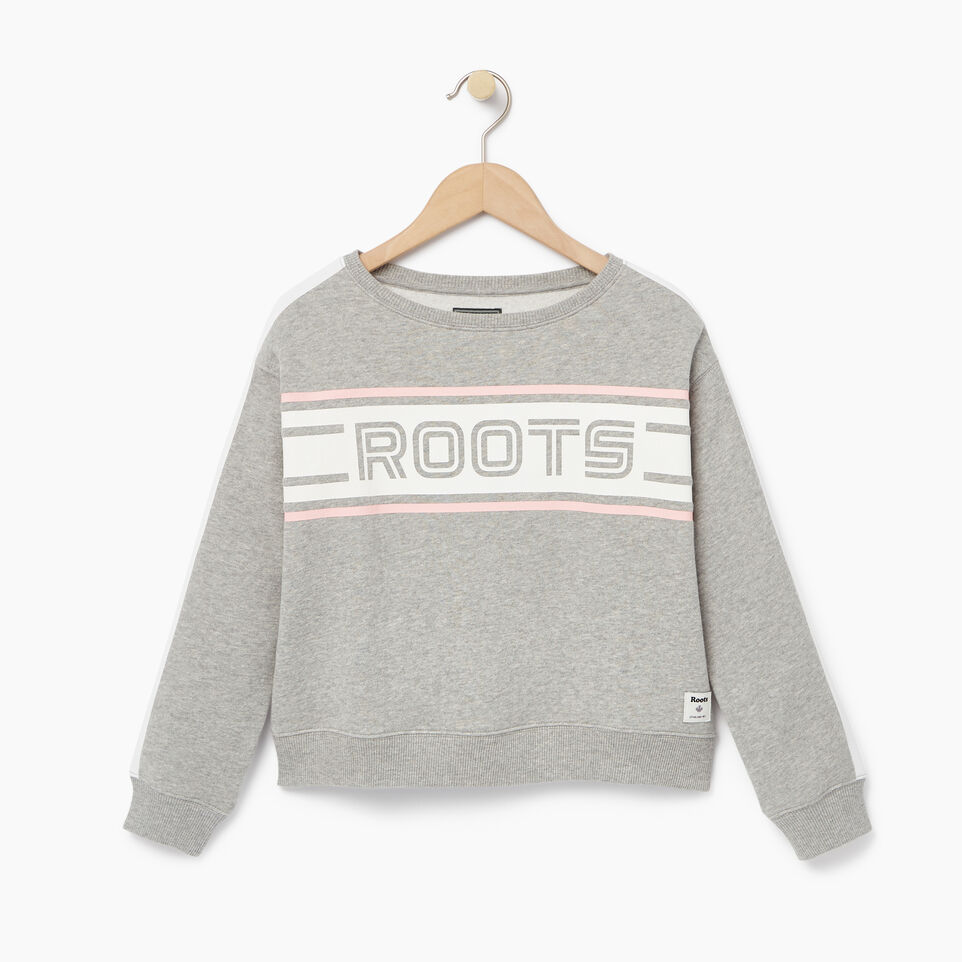 Roots-Clearance Kids-Girls Sportsmas Crew Sweatshirt-Grey Mix-A
