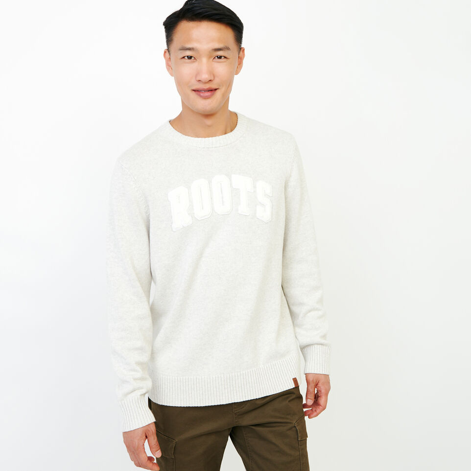 Roots-Men Our Favourite New Arrivals-Applique Crew Sweater-White Mix-A