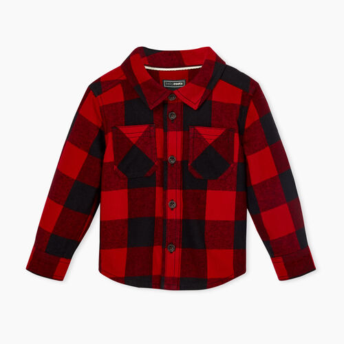 Roots-New For November Kids-Baby Park Plaid Flannel Shirt-Cabin Red-A
