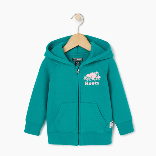 Roots-Sale Baby-Baby Original Full Zip Hoody-Dynasty Turquoise-A