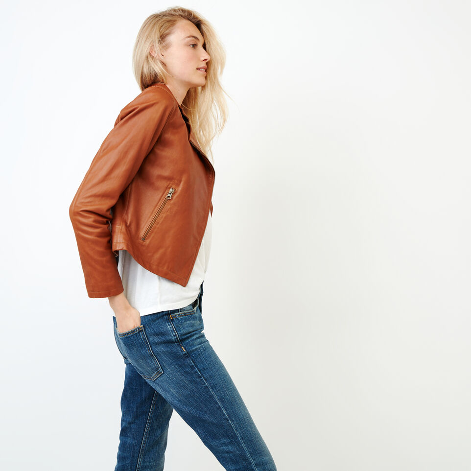 Roots-Leather Leather Jackets-Shay Jacket Vegetal-Tan-E