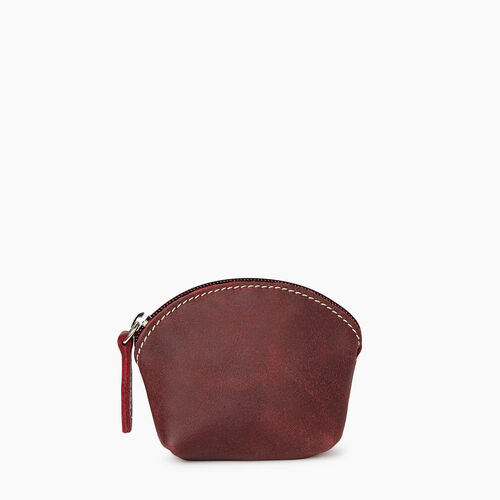 Roots-Women Leather Accessories-Small Euro Pouch-Crimson-A