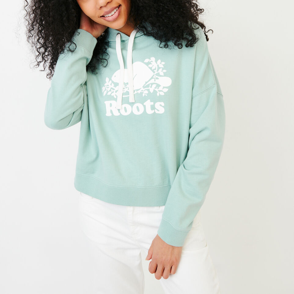 Roots-Women Our Favourite New Arrivals-Melange Terry Hoody-Aquifer-A